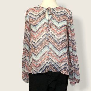 Eyeshadow Colorful Zigzag Cropped Top Size M